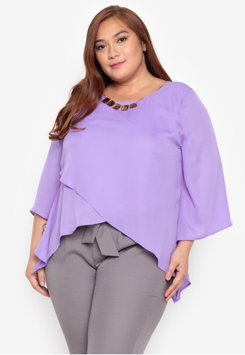 11d3c4b9dfd7 Divina purple Plus Size Quarter Sleeves Overlay Blouse With Necklace  79FAAAAC73A012GS 1
