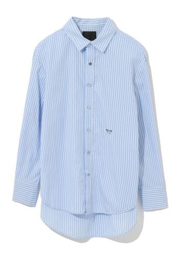 MUSIUM DIV blue Drop hem stripe shirt 584B7AA17E31EEGS_1