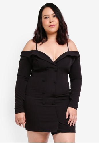 MISSGUIDED black Plus Size Tuxedo Dress 642D3AA4E1E4F3GS_1