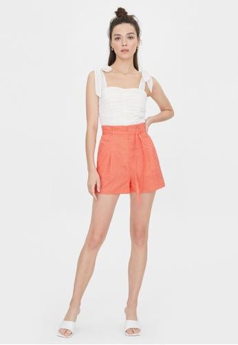 Pomelo orange Polka Dot Tie Waist Shorts - Orange 4B24BAAF3E9B76GS_1