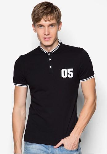 05 數字zalora時尚購物網的koumi koumi條紋邊飾POLO 衫, 服飾, Polo衫