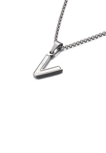 Glamorousky white Fashion and Elegant English Alphabet V Shell 316L Stainless Steel Pendant with Necklace DF233ACB53F277GS_1