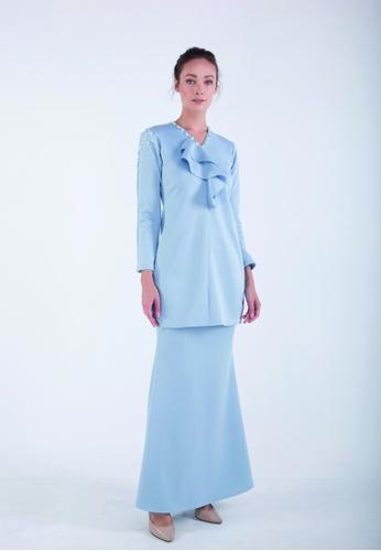AMANI Long Ruffle Kurung from Meraki Atelier in Blue