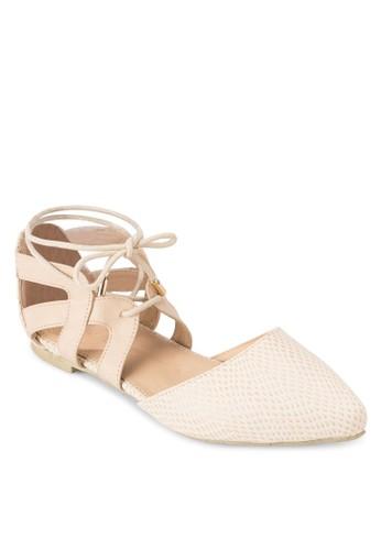 Laurina 鱷魚紋尖頭踝帶平底鞋, 女鞋,zalora 折扣碼 鞋