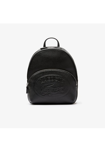 Lacoste black Women's Croco Crew Embossed Logo Leather Mini Backpack 389ABACFBD89A0GS_1