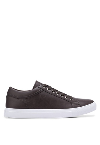 ZALORA brown Faux Leather Sneakers with Trim Detail ABD2BSHD766837GS_1