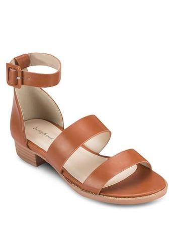 雙寬帶繞踝低粗跟涼鞋、 女鞋、 鞋SomethingBorrowed雙寬帶繞踝低粗跟涼鞋最新折價