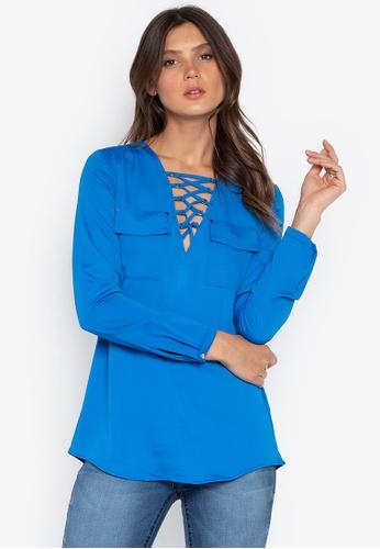 DEBENHAMS blue Star By Julien Macdonald - Jm Lace Up Utility Shirt 7389DAAC09FC0CGS_1