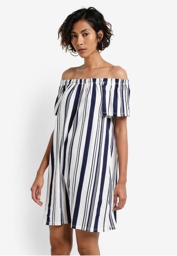 TOPSHOP navy Stripe Bardot Mini Dress TO412AA0RCFQMY_1