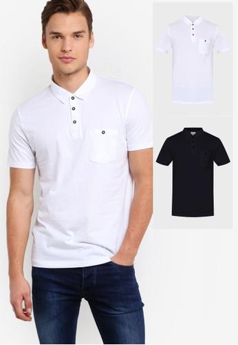 Burton Menswear London white and navy White & Navy 2 Pack Jersey Polo Shirt BU964AA38HIZMY_1