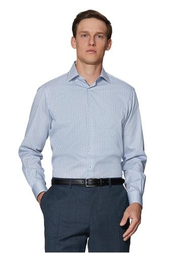 T.M.Lewin Mens Leaf Print Navy Single Cuff Shirt