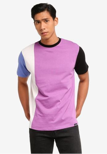 Mennace purple Vertical Panelling T-Shirt A52C4AA2221796GS_1