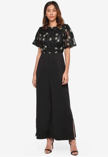BYSI black Mesh Floral High Waist Jumpsuit 1F5FCAA260D6A5GS_1