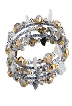 Bead & Natural Stone Cuff Bracelet by ZUMQA