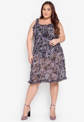 65d99031802 Hint multi Plus Size Sleeveless Ruffle Floral Chiffon Dress HI373AA0KJ7OPH 1