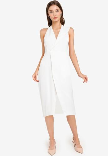 ZALORA OCCASION white Asymmetrical Halter Dress ACFEBAA1C5C3DDGS_1
