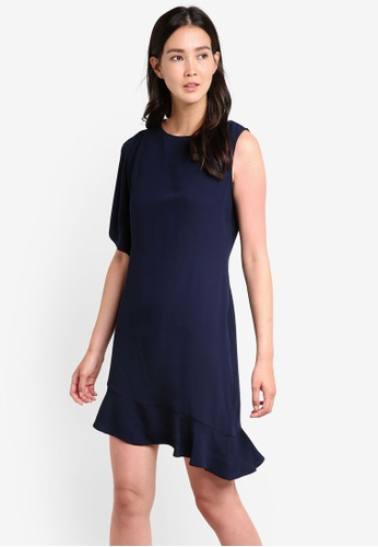 Wallis navy Navy Peplum Asymmetric Dress WA800AA78GPDMY_1