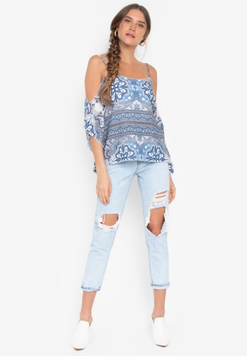 af204c2e5aca8 Shop Maldita Printed Cold Shoulder Blouse Online on ZALORA Philippines