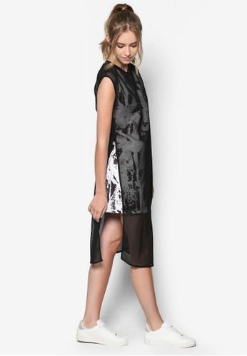 抽象印花網眼esprit investor relations直筒連身裙, 服飾, 洋裝
