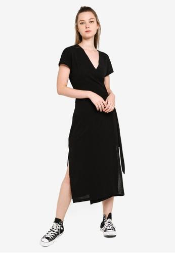 Something Borrowed black Midi Knit Wrap Dress 3B715AA953A028GS_1