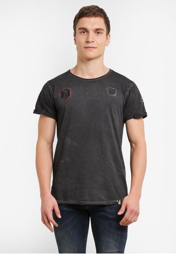 Indicode Jeans black Barylen Cold Dyed Badges T-Shirt IN815AA0S9B7MY_1