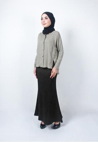 Ladies Jeans green Elegant Flower Printed Skirt 7A1A1AA1BD4240GS_1