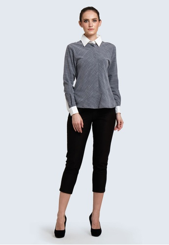 SALIENT LABEL grey and multi Hera Button-down Peplum Top with Contrast Colour Collar in Multi 0F906AA8389A03GS_1