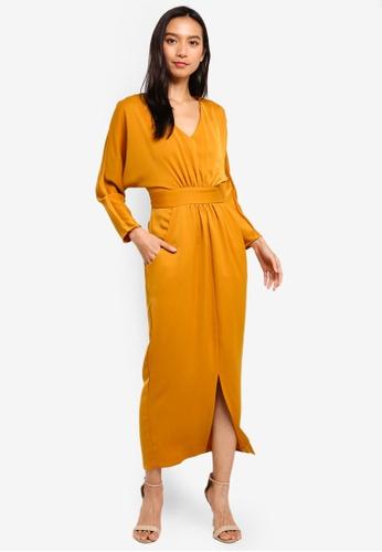 CLOSET 黃色 褶飾洋裝 A320EAAEA68B62GS_1