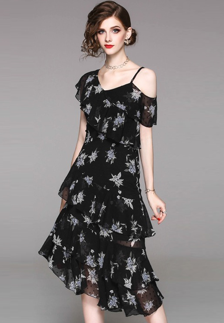 Black Piece 2018 Dress Shoulder CA071840BK Chiffon One New Sunnydaysweety Ruffle One YYf1vw