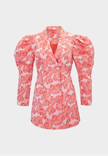 Pomelo red Flower Print Puff Sleeve Romper - Red 5EAA3AA343298CGS_1