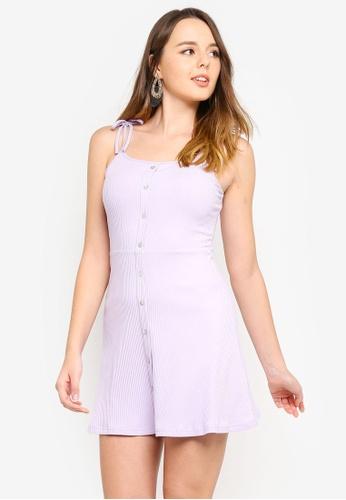 ZALORA 紫色 針織細肩帶洋裝 F9FCDAAEA0B427GS_1
