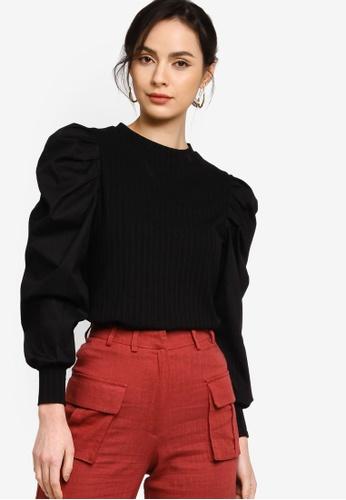Zalia black Mutton Sleeves Blouse B399DAA17EC400GS_1