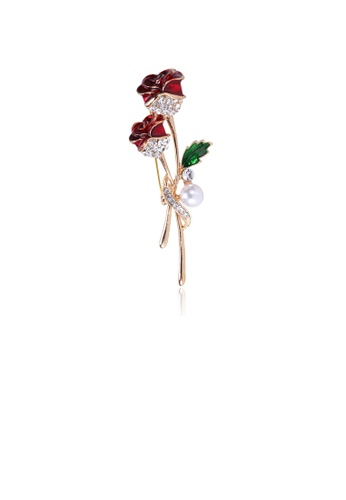 Glamorousky white Fashion and Elegant Plated Gold Red Rose Imitation Pearl Brooch with Cubic Zirconia 327C8AC79FB58BGS_1