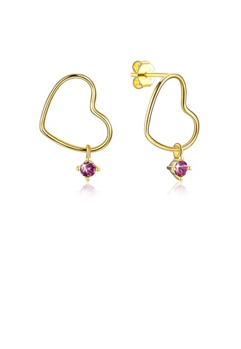 Glamorousky purple 925 Sterling Plated Silver Gold Simple and Romantic Heart Earrings with Purple Austrian Element Crystal 325E2AC885C6D8GS_1