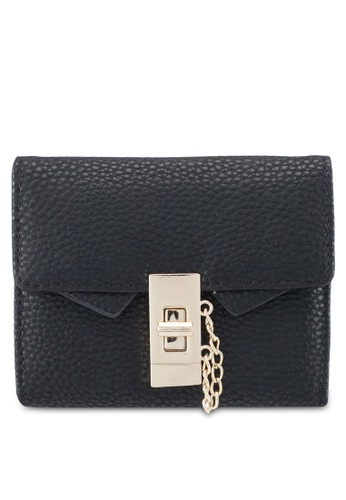 NUVEAU black Pebbled Texture Metal Lock Medium Ladies Wallet E02D7AC97F5929GS_1