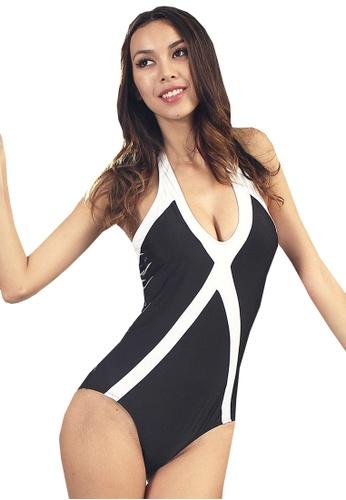LYCKA black LWD7148-European Style Lady Swimsuit-Black E4F52US2D9E62EGS_1