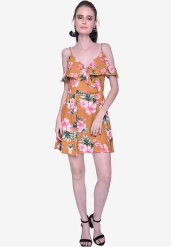 Caoros yellow Floral Sleeves Cut Out Mini Dress 2E746AA313D6CAGS_1