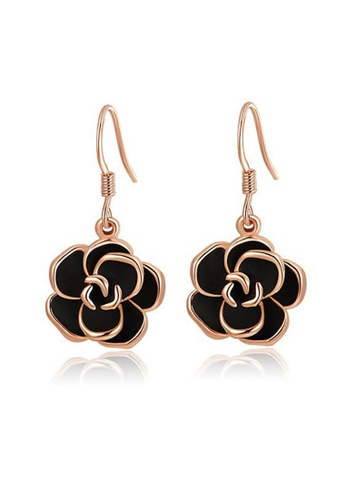 Kings Collection Gold Rose Color Black Flower Drop Earrings Da7cdac81f762bgs 1