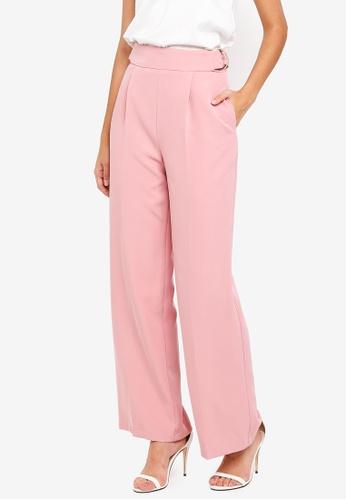 Miss Selfridge pink Pink Premium Buckle Waist Wide Leg Trousers 5E4E3AA6E46A9DGS_1