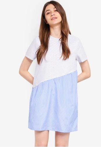Something Borrowed white and blue Asymmetric Babydoll Dress 2368DAA151640AGS_1