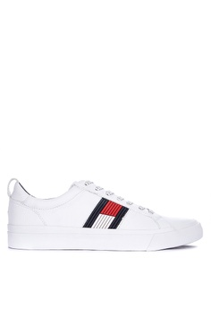 735744330 Tommy Hilfiger white Flag Detail Leather Sneaker Sport DBE61SH1804FE3GS_1