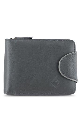 Lumberjacks grey Lumberjacks Genuine Leather Zipper Wallet LU545AC0SMD9MY_1