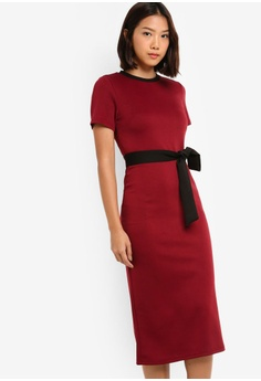 e9843bec204e Something Borrowed red Contrast Waist Tie Midi Dress CC4C3AA99F77E8GS 1