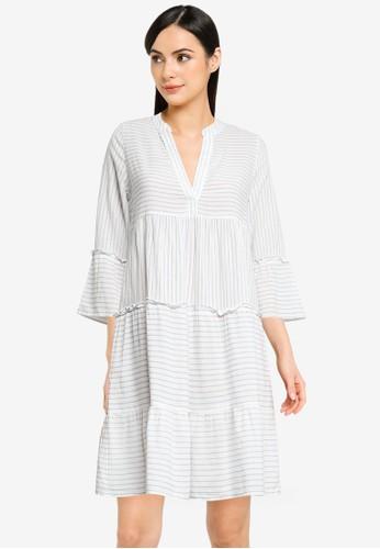 Vero Moda white VMHELI 3/4 SHORT DRESS WVN GA COLOR 57BC0AAB25FC44GS_1