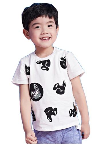 M.Latin white Short Sleeve T-Shirt with Dog Prints BB3E7KA60A0CADGS_1