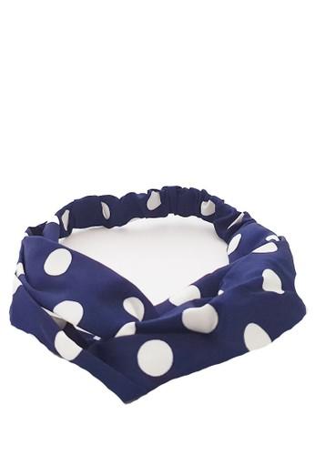 San Marco white and navy Twisted Headband Polka-Dotz Navy 0CFB8BE0AA92EEGS_1