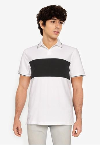 Banana Republic white Lux Jacquard Chest Stripe Polo Shirt 50482AA954D8D1GS_1
