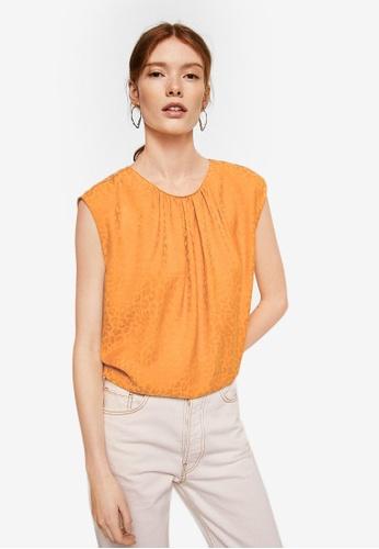 Mango orange Bow Leopard Print Top 686BBAA0A1437AGS_1