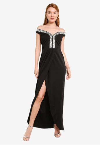 Goddiva black Off The Shoulder Tulip Maxi Dress 3ADF7AAEBB6DB3GS_1