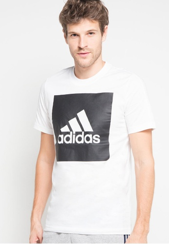 adidas white adidas Essentials Box Logo Tee AD372AA0RS65MY_1